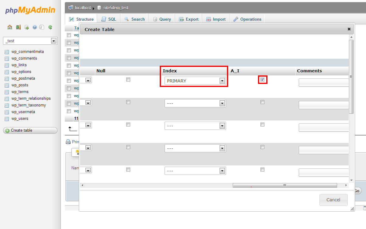how to create a new database phpmyadmin