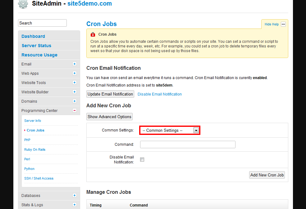 Site5 Knowledgebase How To Setup And Manage Cron Jobs