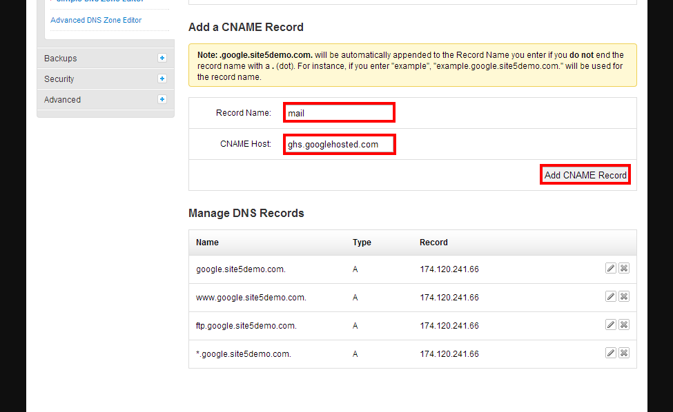 how to add reverse dns record in cpanel