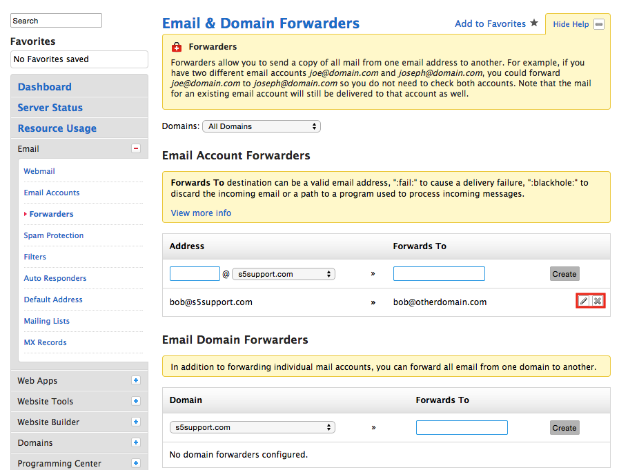 Site5 KnowledgeBase � Email: Create EMAIL Forwarders