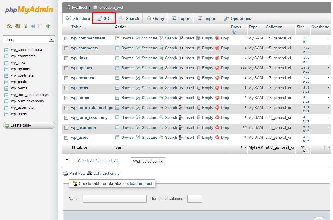 Kết quả hình ảnh cho phpmyadmin database