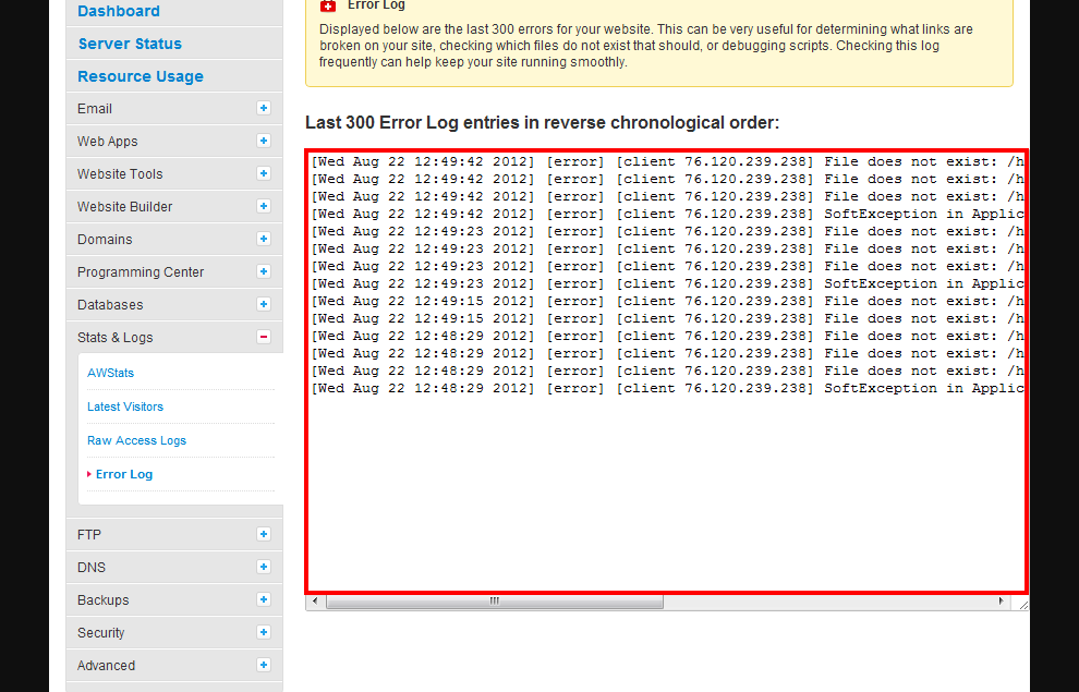 Error Log: Site5 KnowledgeBase » Logs: View Website Error Log