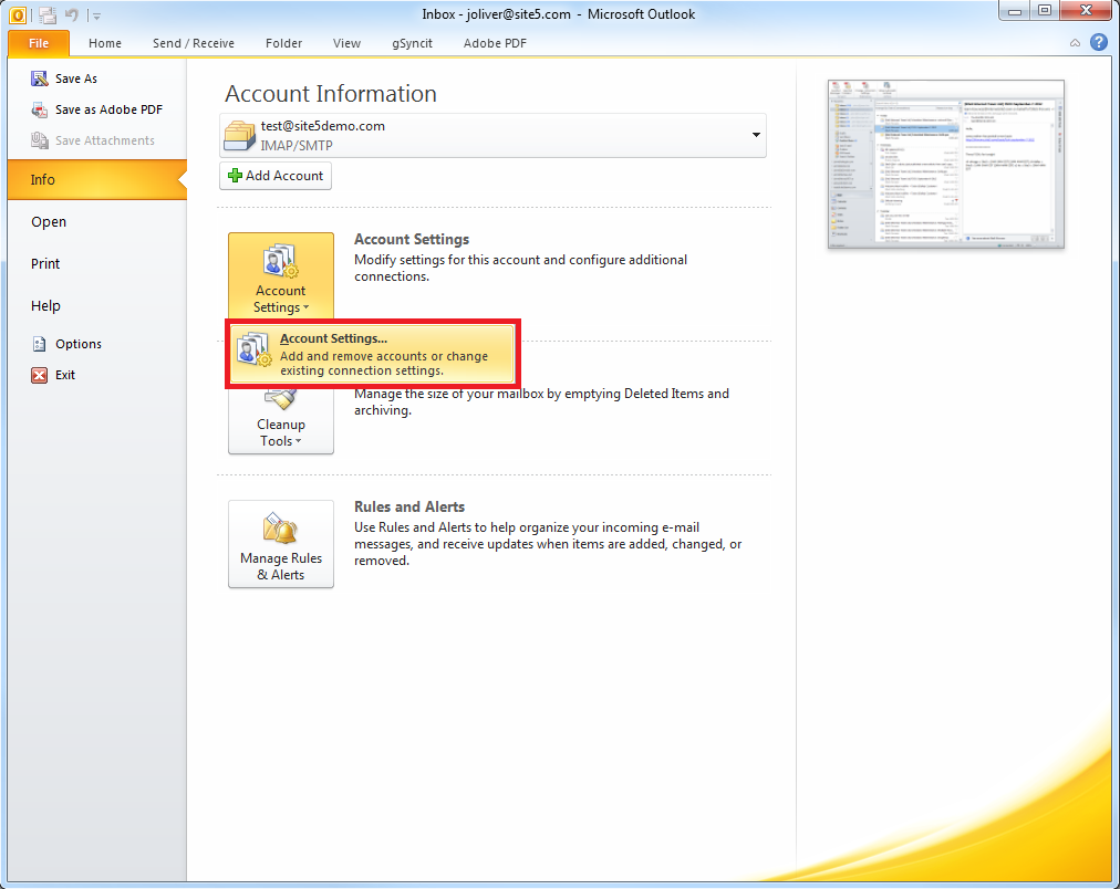 Site5 KnowledgeBase » Outlook 2010: How to Save or Remove Emails ...