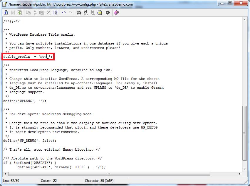 wordpress table prefix must not be empty 3